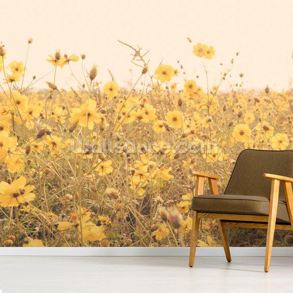 Vintage Yellow Flower Meadow Wallpaper Wallsauce Us