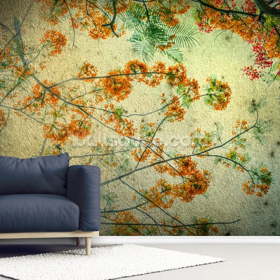 Vintage Flowers wallpaper mural room setting
