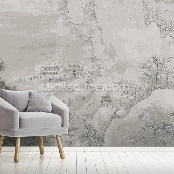 chinese landscape wallpaper mural wallsauce uschinese landscape mural wallpaper room setting