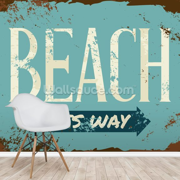Beach Tin Sign wall mural room setting