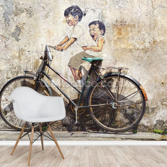 Little Children on a Bicycle mural wallpaper room setting