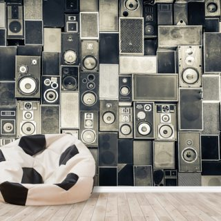 Music Speakers Wall Monochrome Wallpaper Wall Murals
