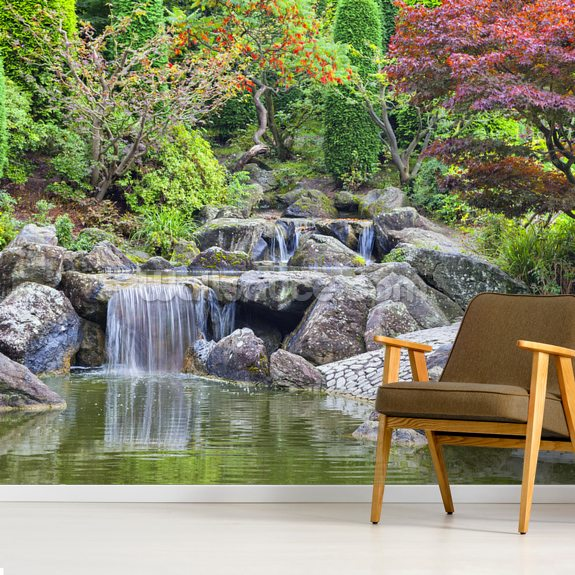 Cascade Waterfall In Japanese Garden Wall Mural