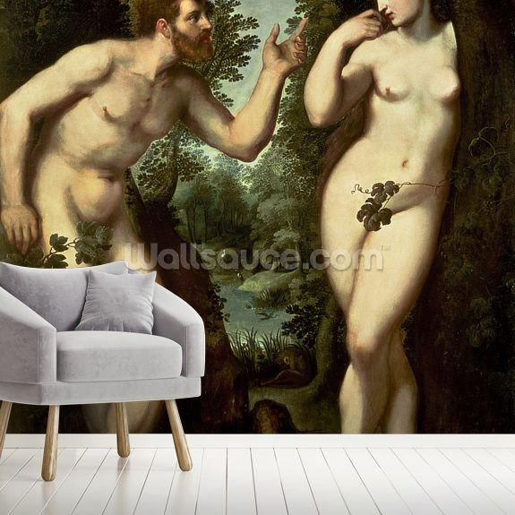 Adam and Eve, c.1599 (oil on panel) wallpaper mural room setting