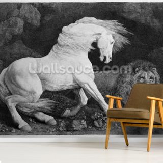 A Horse Affrighted by a Lion, engraved by the artist, 1788 (etching) Wallpaper Wall Murals