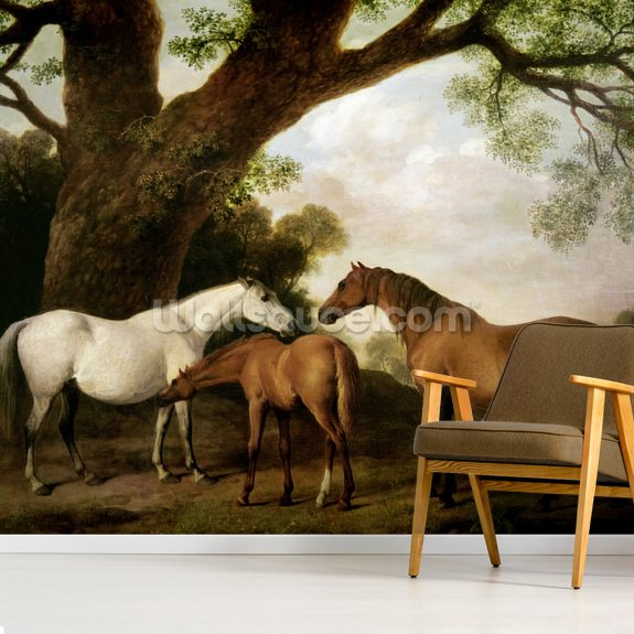 Two Shafto Mares and a Foal, 1774 (oil on panel) mural wallpaper room setting