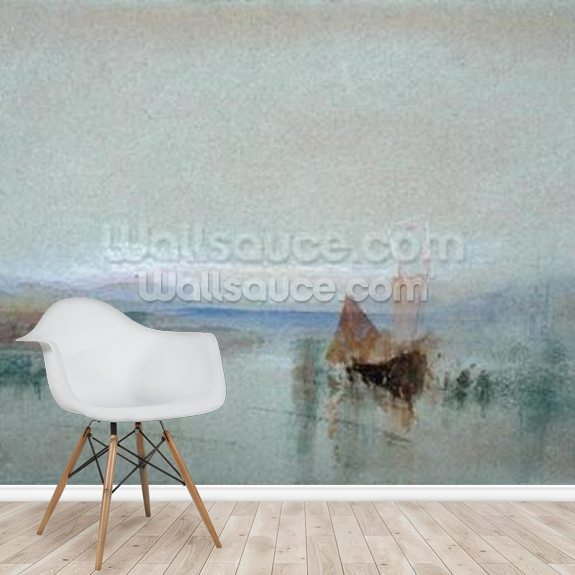 Fishing Boats Becalmed off Le Havre (w/c & bodycolour on blue paper) mural wallpaper room setting