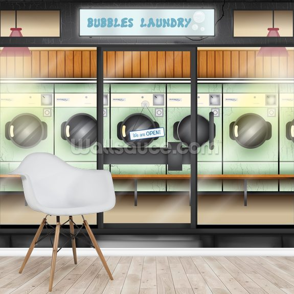 Laundrette wallpaper mural room setting