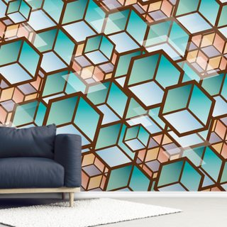 Muted Cubes Wallpaper Wall Murals