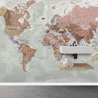 Executive Political World Map Wallpaper Wall Murals