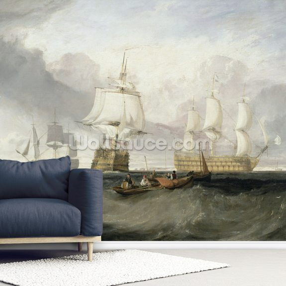 The Victory Returning from Trafalgar, 1806 (oil on canvas) wall mural room setting