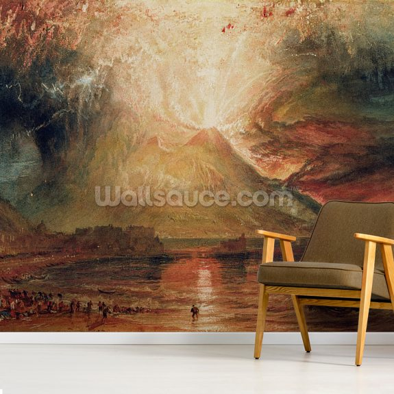 Mount Vesuvius in Eruption, 1817 (w/c on paper) mural wallpaper room setting