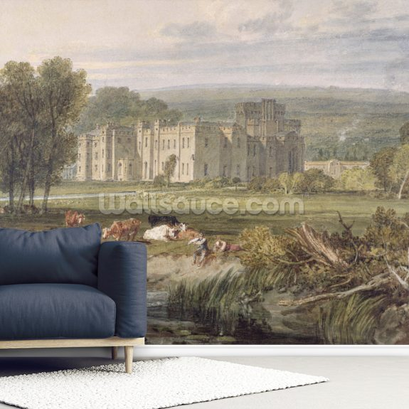 View of Hampton Court, Herefordshire, from the south-east, c.1806 (w/c over graphite on wove paper) mural wallpaper room setting