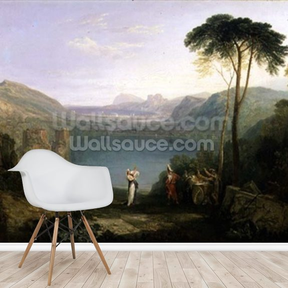 Lake Avernus: Aeneas and the Cumaean Sibyl, c.1814-5 (oil on canvas) wallpaper mural room setting