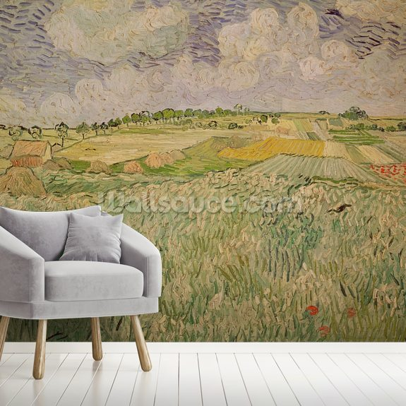 The Plain at Auvers, 1890 (oil on canvas) wall mural room setting