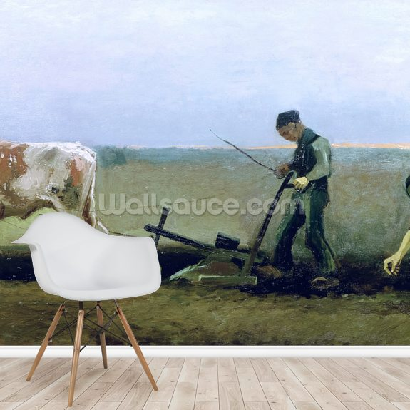 Labourer and Peasant Planting Potatoes, 1884 (oil on canvas) wall mural room setting
