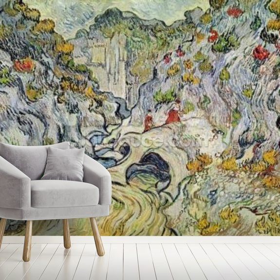 The ravine of the Peyroulets, 1889 (oil on canvas) wallpaper mural room setting