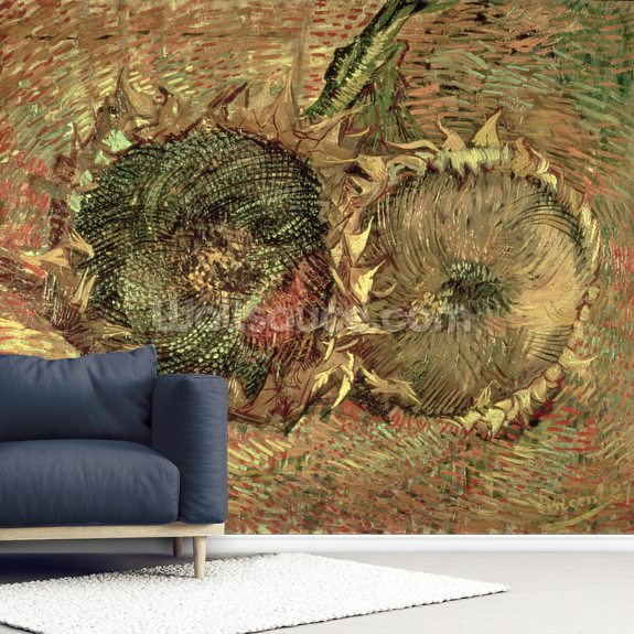 Two Cut Sunflowers, 1887 (oil on canvas) wallpaper mural room setting
