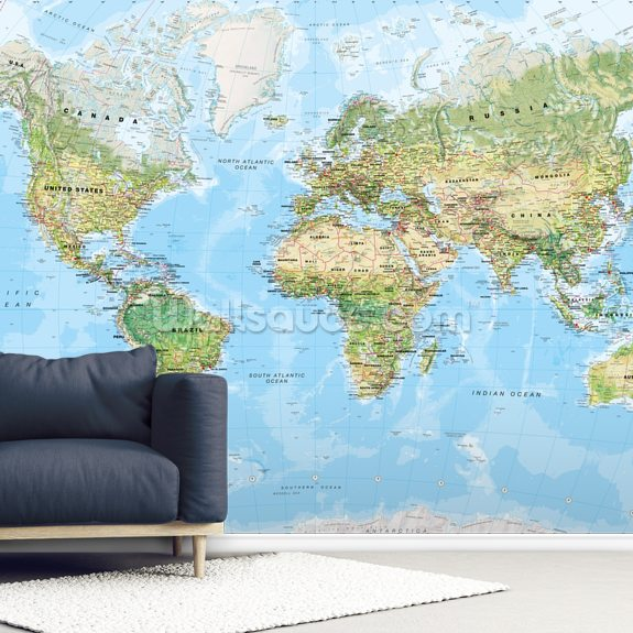 World Wall Map (Environmental) mural wallpaper room setting