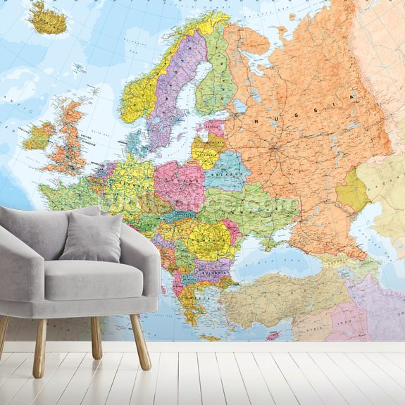 Political Europe Map wall mural room setting