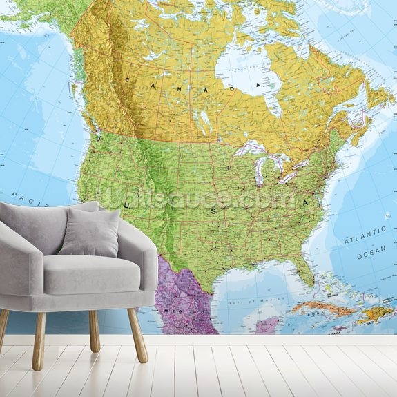 Political North America Map mural wallpaper room setting