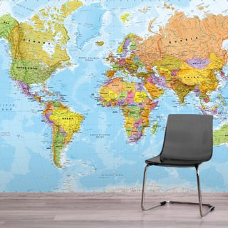 Political World Map Wallpaper Wall Murals