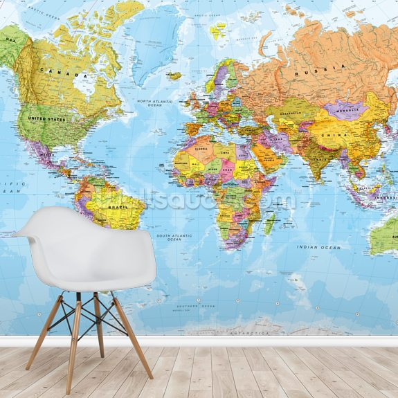 Political World Map Wallpaper Mural Wallsauce Uk