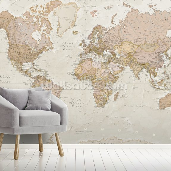 Antique World Map wallpaper mural room setting