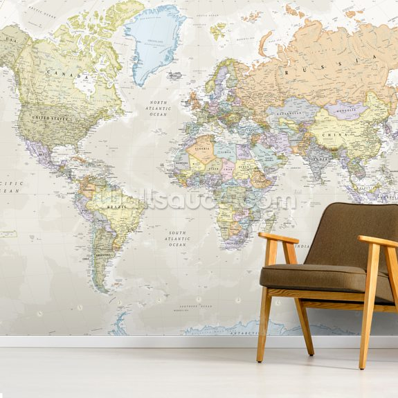 Classic World Map Mural Wallpaper Room Setting