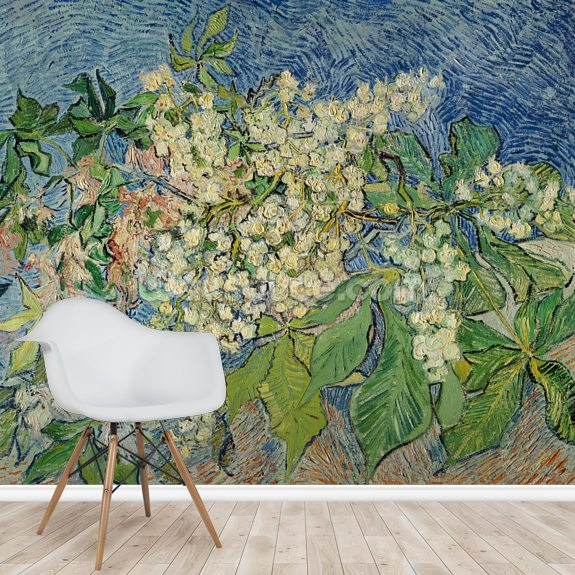 Blossoming Chestnut Branches, 1890 (oil on canvas) wall mural room setting