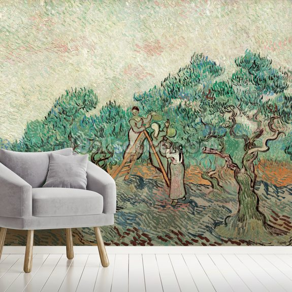 The Olive Grove, 1889 (oil on canvas) wallpaper mural room setting