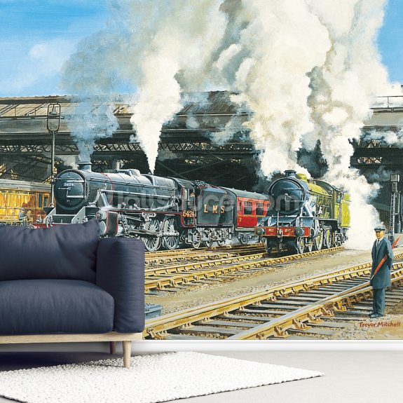 Full Steam Ahead wallpaper mural room setting