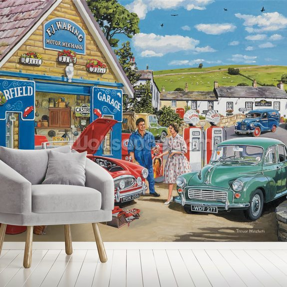 The Village Garage by Trevor Mitchell wall mural room setting
