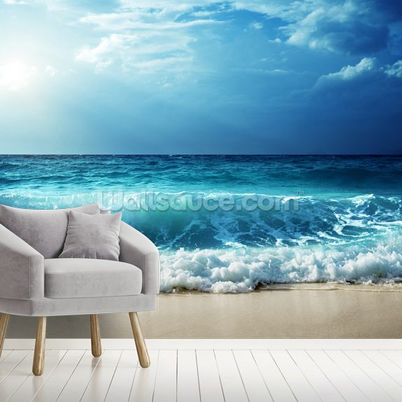 Waves at Seychelles Beach wallpaper mural room setting