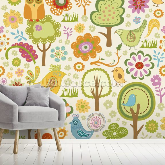 Birds and Forest mural wallpaper room setting