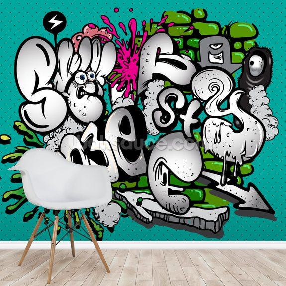 Graffiti Writing wallpaper mural room setting