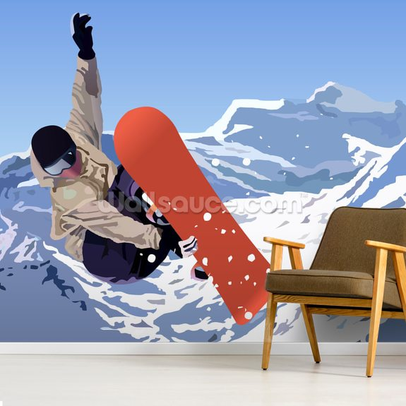 Snowboarder mural wallpaper room setting