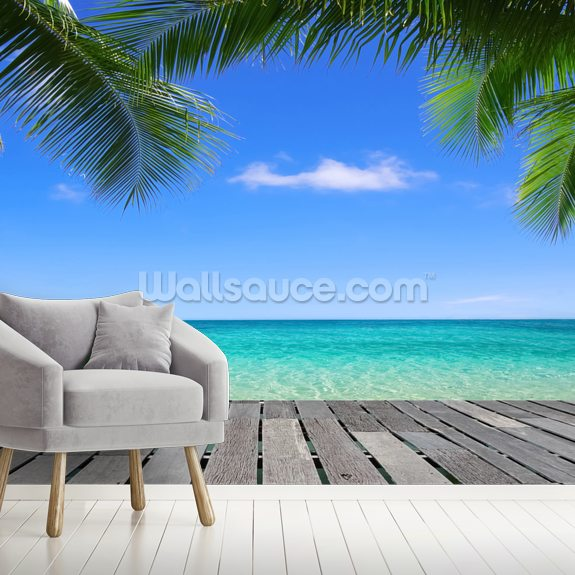 Tropical Deck View wall mural room setting