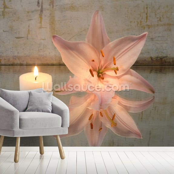 Candle and Lily wallpaper mural room setting