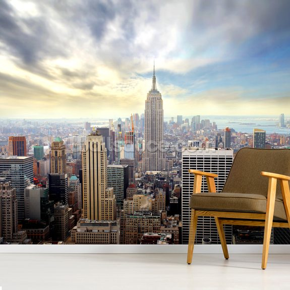 Manhattan Skyline mural wallpaper room setting