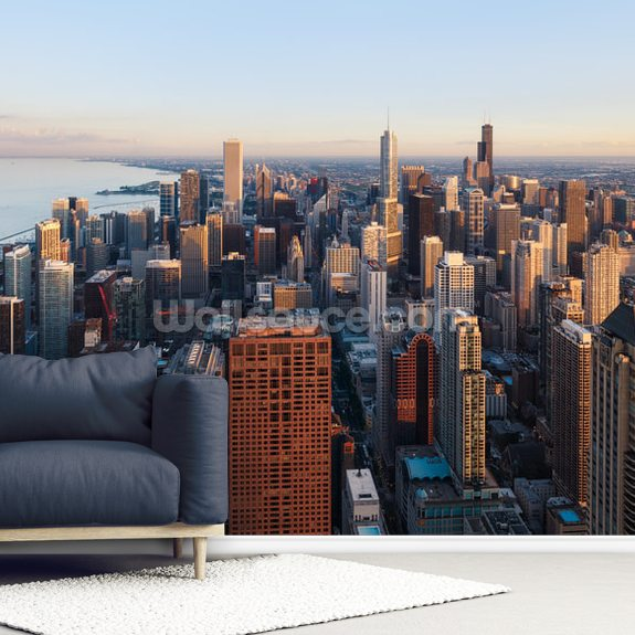 Chicago Skyline From Above Wall Mural