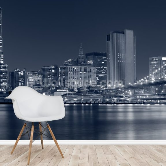 Manhattan at Night wallpaper mural room setting