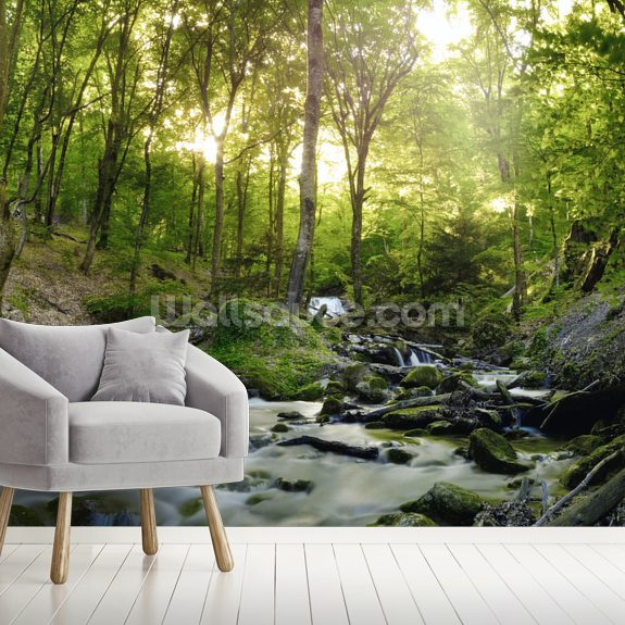 beautiful forest waterfall wall mural wallpaper wallsauce usforest waterfall wallpaper mural room setting