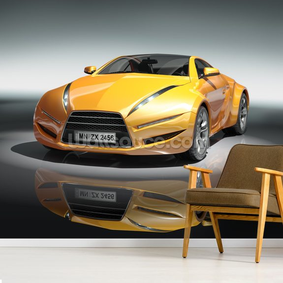 Yellow Sports Car Wallpaper Mural Wallsauce Fi