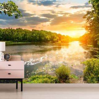River Sunset Wallpaper Wall Murals