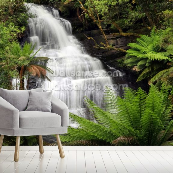 Rainforest Waterfall wall mural room setting