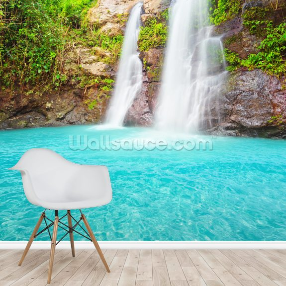 Tropical Waterfall mural wallpaper room setting