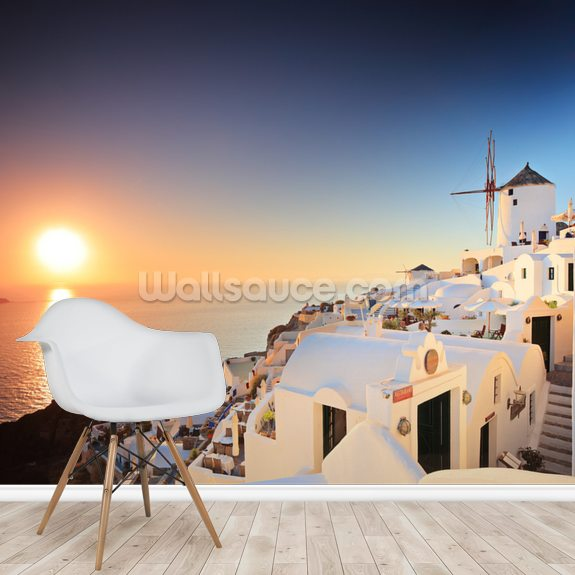 Santorini Sunset wall mural room setting