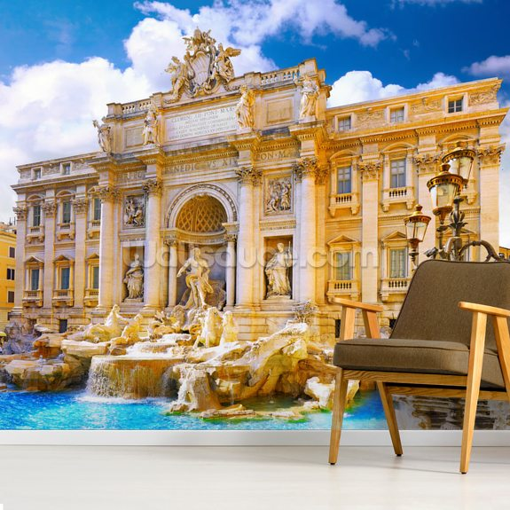 Trevi Fountain, Rome mural wallpaper room setting
