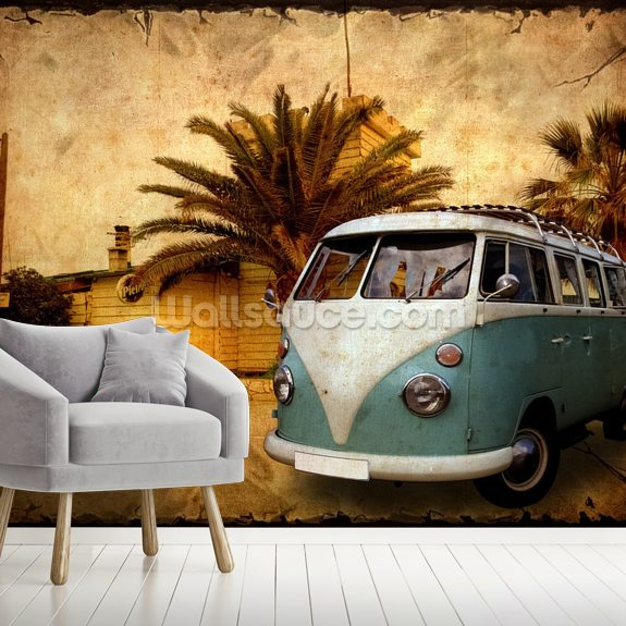 VW Camper on Holiday wallpaper mural room setting